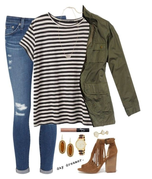 """""""♢ here we go again ♢"""" by kaley-ii ❤ liked on Polyvore featuring AG Adriano Goldschmied, Nili Lotan, Kendra Scott, Chinese Laundry, NARS Cosmetics and Kate Spade"""