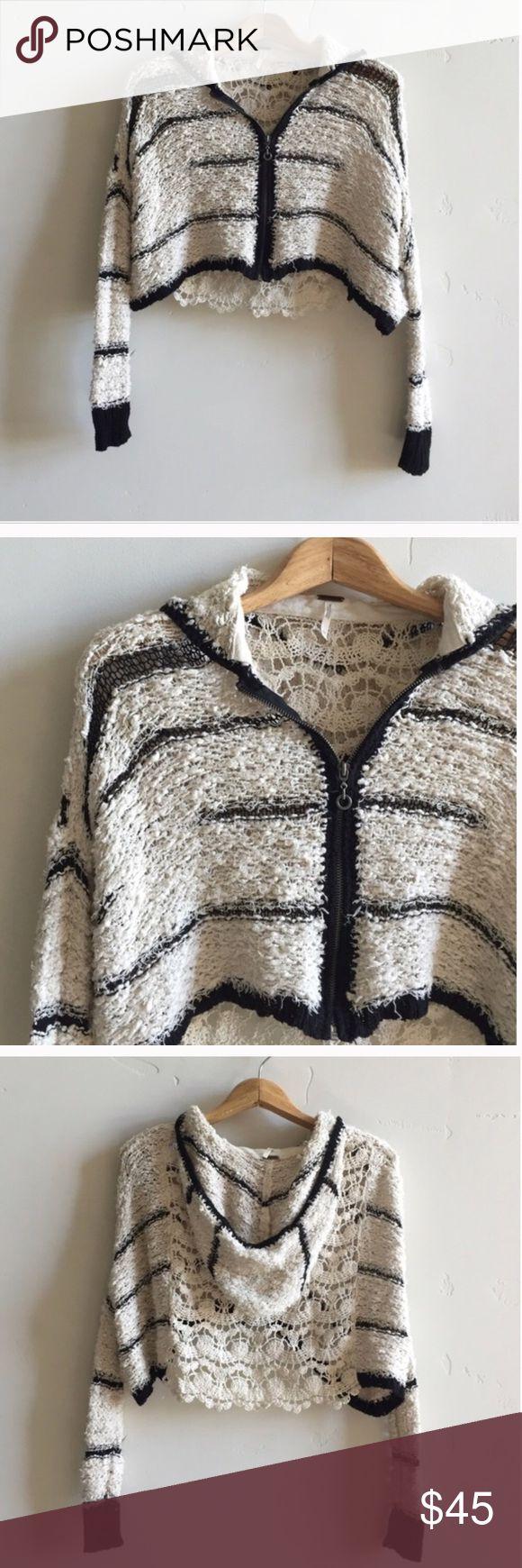 Free People black & white striped zip up sweater Black and white striped free People hooded zip up sweater Free People Sweaters