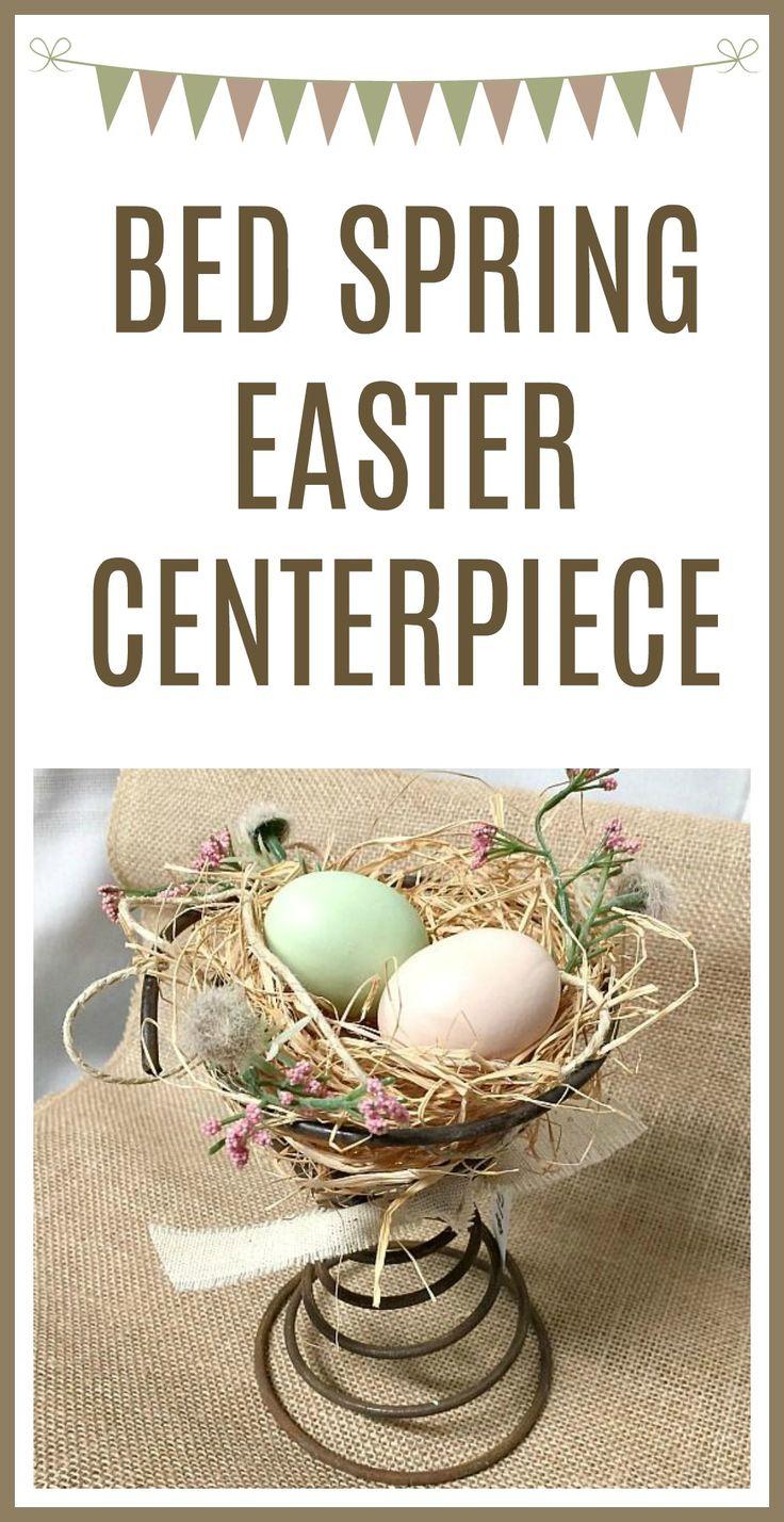 An easy Easter centerpiece using a vintage bed spring. Homeroad.net #bedspring #easter #spring #nest #diyproject