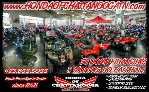 Chattanooga TN Honda PowerSports / ATV Dealer : Honda of Chattanooga. Check out our warehouse full of Honda ATVs! Click over to www.HondaofChattanoogaTN.com and check out our wholesale discount ATV / Four Wheeler Prices!