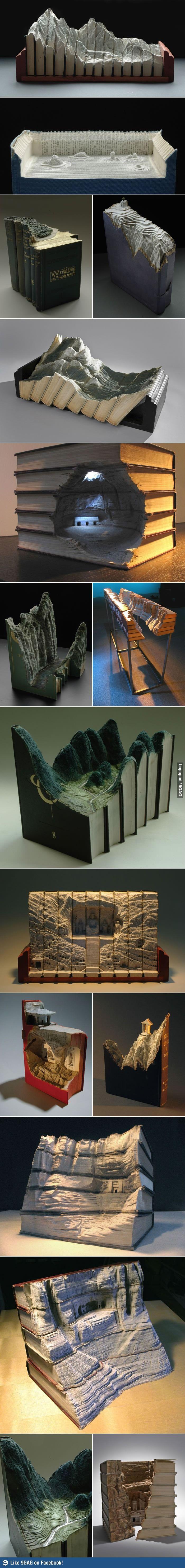 landscapes carved in books