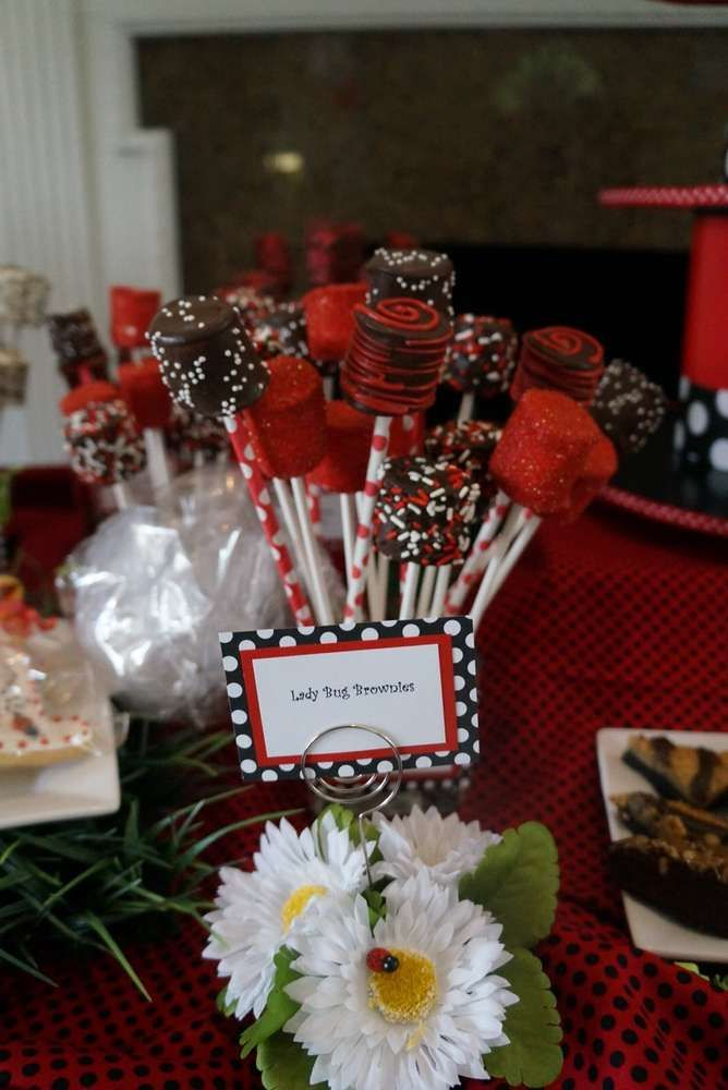 Sweets at a ladybug birthday party! See more party ideas at CatchMyParty.com!
