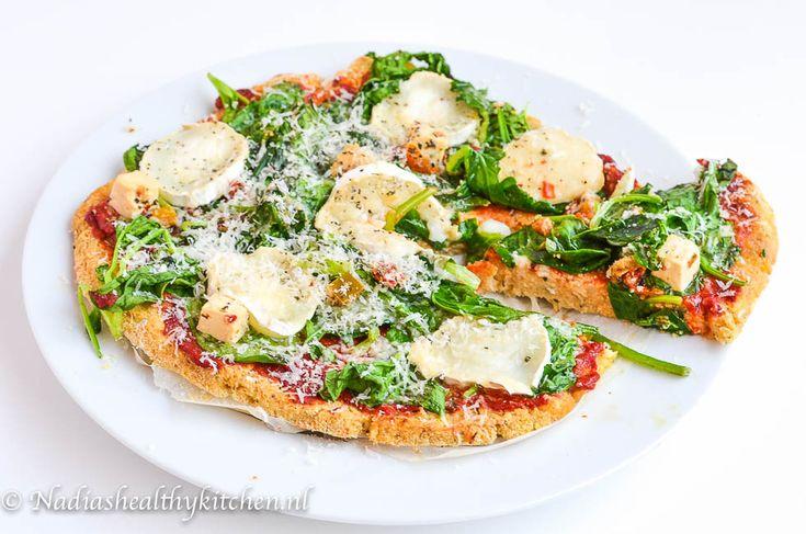 Gezonde pizza met spinazie en geitenkaas, Healthy pizza