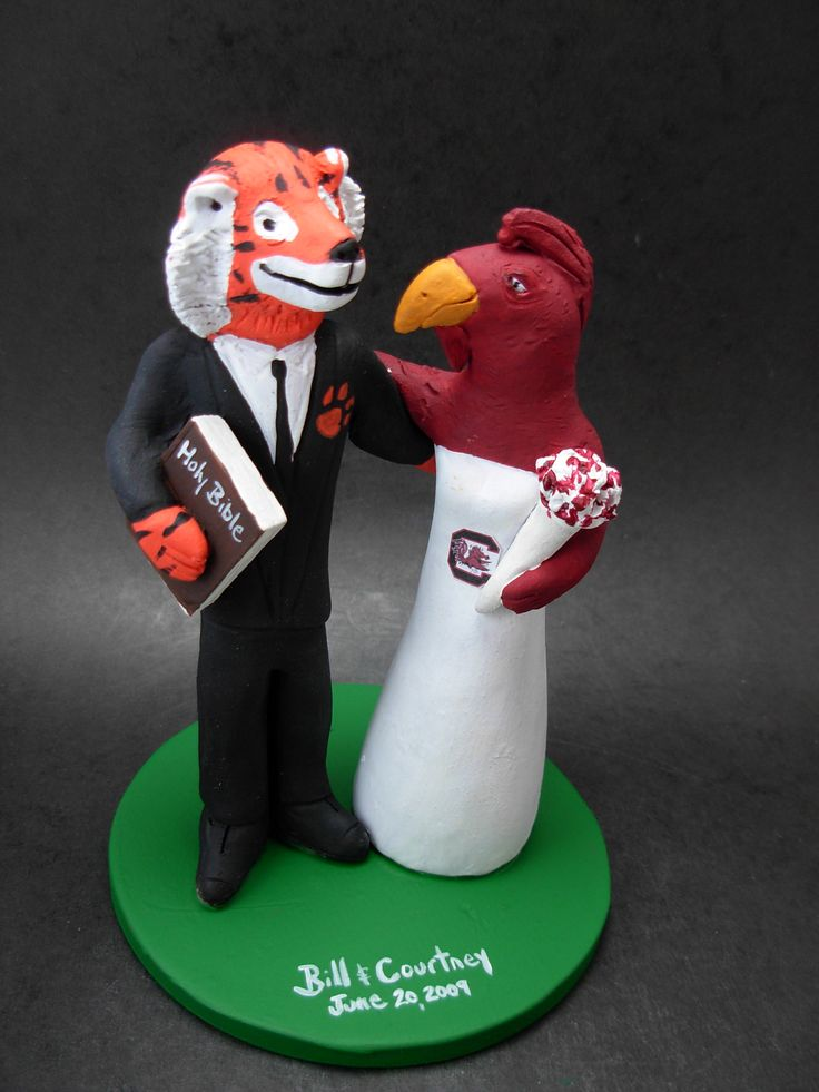 Incorporate your team jersey, sport, favourite items, whatever the bride and groom want. $235 www.magicmud.com 1 800 231 9814 magicmud@magicmud... blog.magicmud.com twitter.com/... $235 #mascot #collegemascot #hokie #ms.wuf #gators #virginiatech #football mascot #wedding #cake #toppers #custom  #Groom #bride #anniversary #birthday #weddingcaketoppers #caketoppers #figurine https://www.facebook.com/PersonalizedWeddingCakeToppers https://www.tumblr.com/blog/custom-wedding-cake-toppers