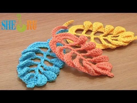 ▶ 3D Crochet Leaf Tall Stitches Tutorial 28 Part 2 of 2 Crochet Volumetric Branches - YouTube