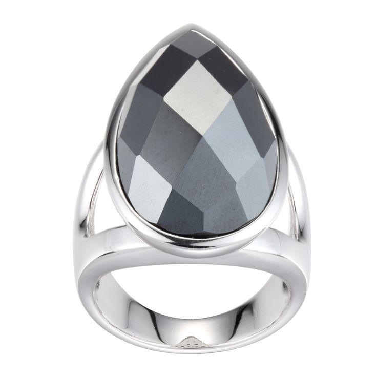 Sterling silver Elle pear shaped faceted hematite ring with split design shank $150.00 #PoagWishList