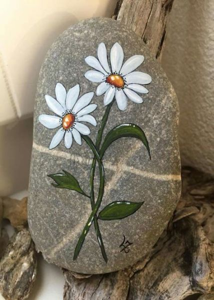 Best Painting Rocks Flowers Daisies 28 Ideas