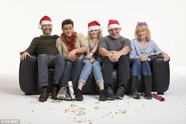 We are family:Pete (Hugh Dennis), Jake (Tyger Drew-Honey), Karen (Ramona Marquez), Ben (Daniel Roche) and Sue (Clare Skinner) are back as the Brockmans for a Christmas special of Outnumbered