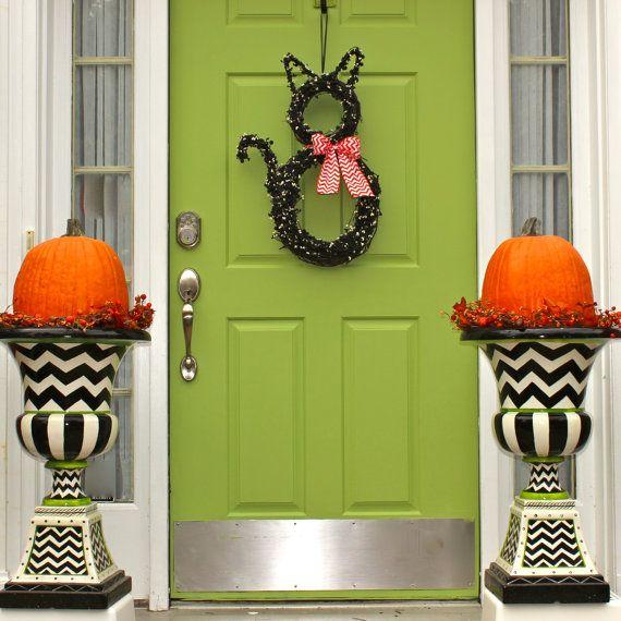 halloween wreath cat wreath original wreath fall wreath autumn door decor - Halloween And Fall Decorations