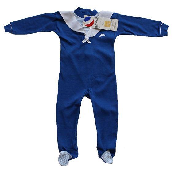 VINTAGE 70's / enfant / combinaison / pyjama / jersey coton / bleu et blanc / Absorba / stock ancien neuf /  taille 1 an