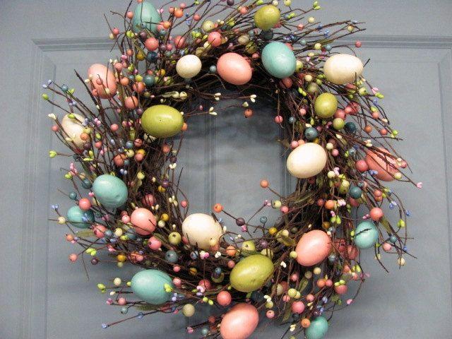 Door Decor - Spring Wreath - Easter Wreath - Pastel Spring EGG Mix Pip Berry Wreath  - Primitive Wreaths - Easter Home Decor.