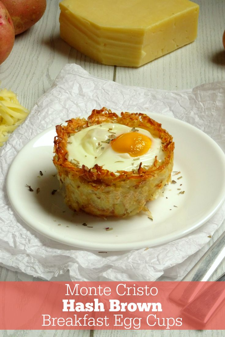 Monte Cristo Hash Brown Breakfast Egg Cups Recipe. These gluten-free breakfast cups are amazing! A crunchy potato crust full of juicy ham and melted cheddar cheese, all topped with a soft-cooked egg. Seriously - I pulled these out of the oven last weekend