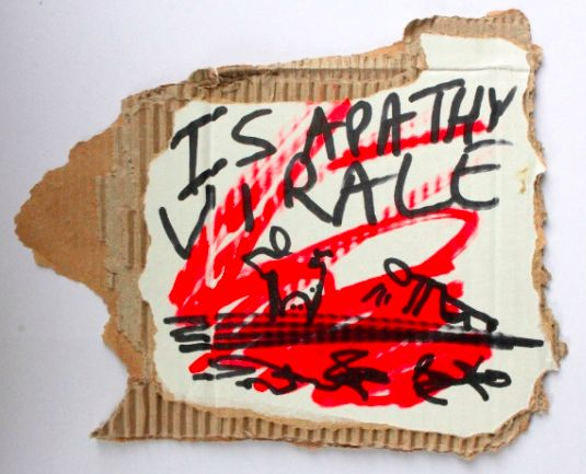 "Is apathy viral, black and red marker text and drawing on carton, 18 x 16 cm Biennalist  #BERLINBIENNALE  : Fear of content "" ( Berlin Biennial )"