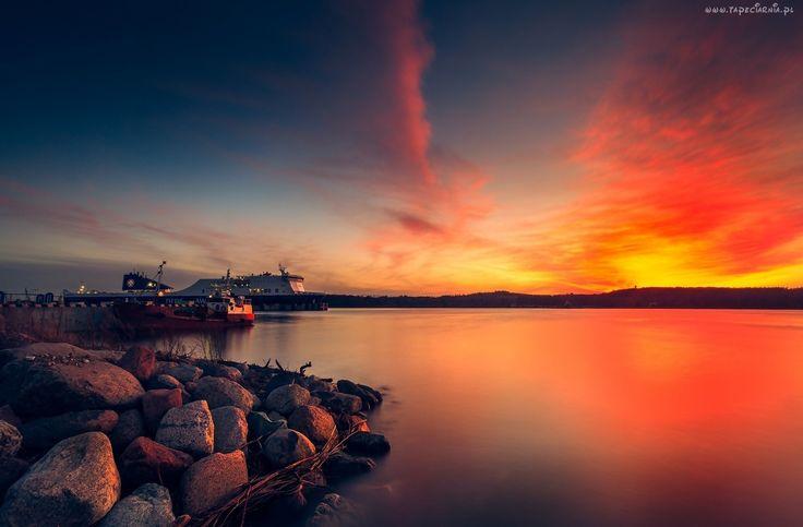 Morze, Kamienie, Zachód, Słońca, Statki