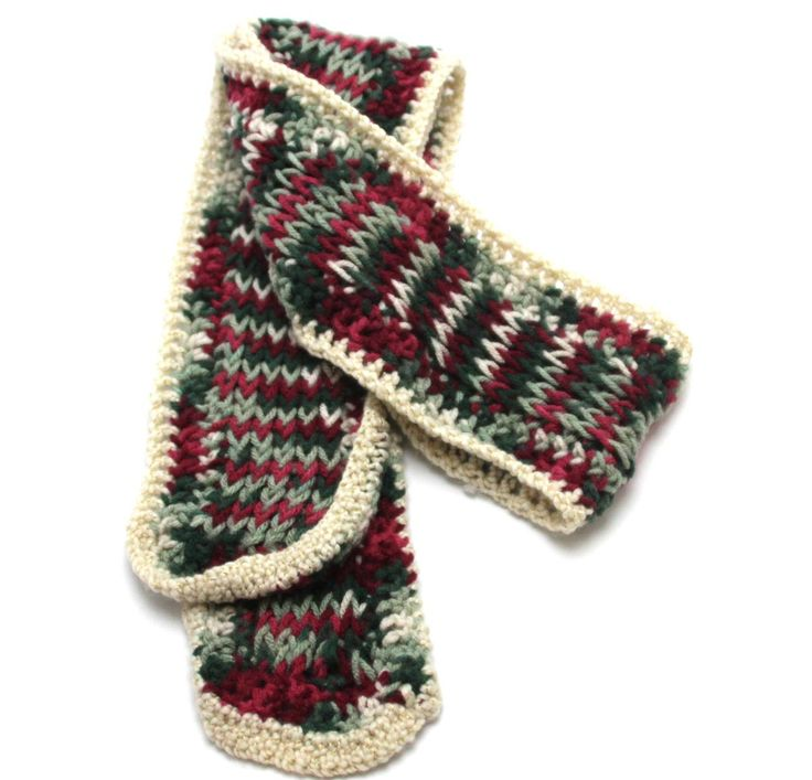 Muffler Scarf Knit Red Green White