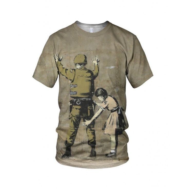 """Girl Searching Soldier in Bethlehem, from the collection of """"Hand Printed"""" Designs by the prolific street artist known as """"Banksy"""".   More Designs and Styles on the Store: http://www.globalmusicollective.com/store/?product_cat=banksy"""