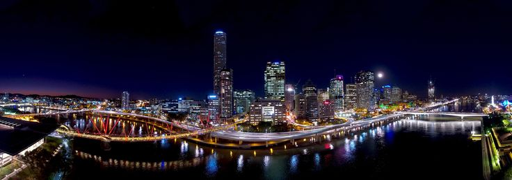 River City - Multi image aerial panorama of Brisbane at night.  Made by latering and stitching 42 images.