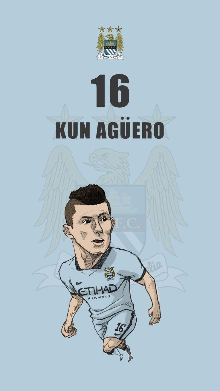 "Manchester city fan art for mobile wallpaper ""Sergio Aguero"""