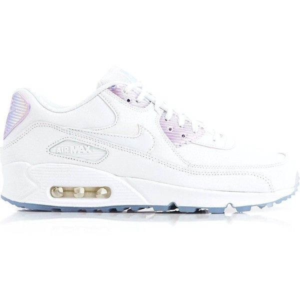 Nike Air Max 90 Premium Holographic Shoes ($125) ❤ liked on Polyvore featuring shoes, white, nike shoes, white shoes, hologram shoes, holographic shoes and white lace up shoes
