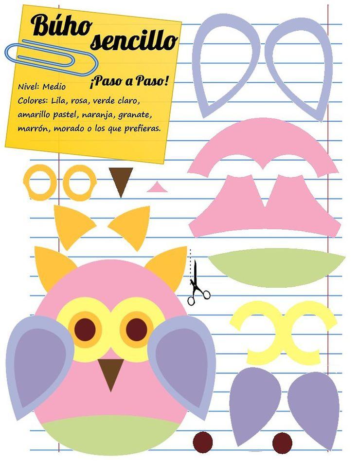 Owl foam pattern - Mamá Eva Manualidades