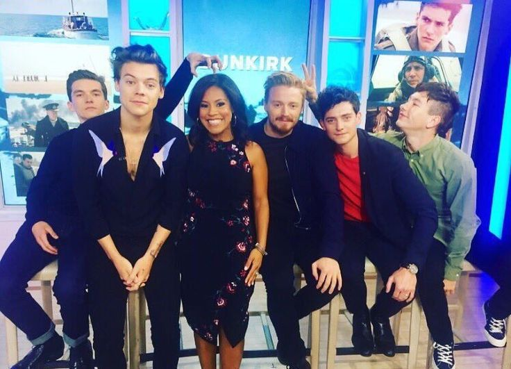 | Harry and the cast of #Dunkirk with Sheinelle Jones on Today Show.