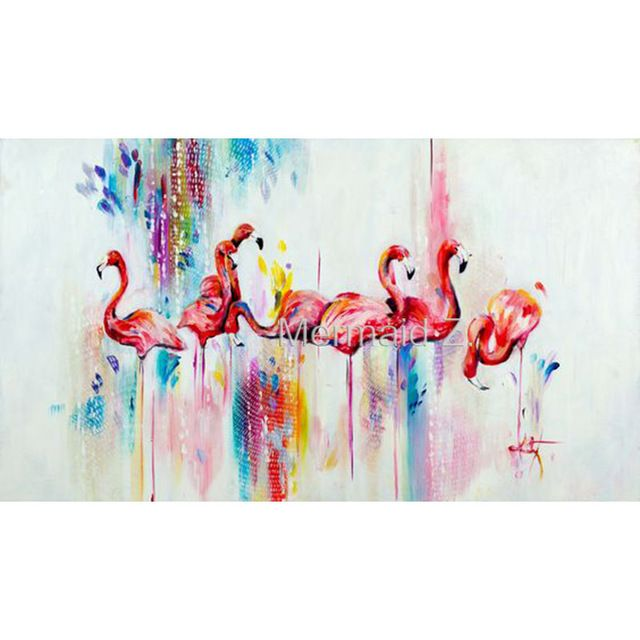 high quality Hand Painted animal Abstract Oil Painting Canvens Home Wall Decor Living Room hallway Artwork Fine Art Flamingos