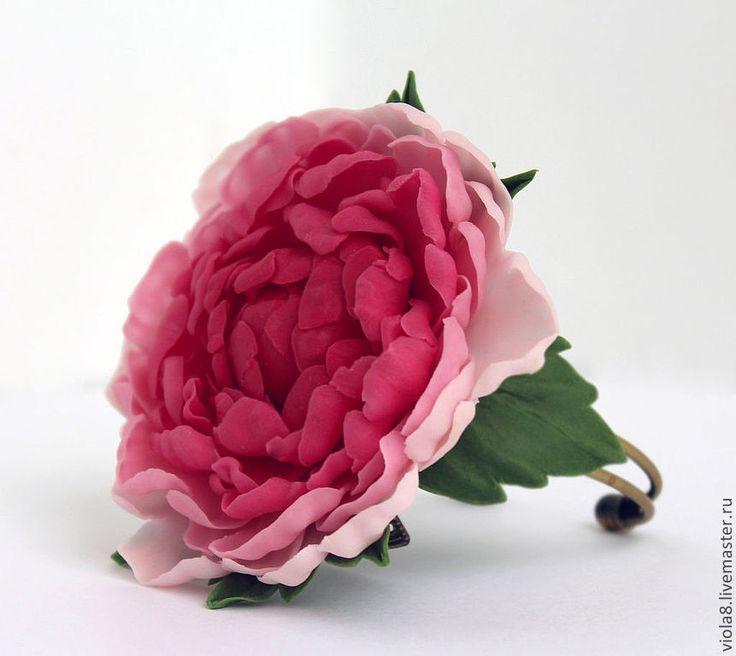 """Купить Браслет """"Пион"""" цветок пиона из полимерной глины - браслет из пластики, браслет полимерная глина"""