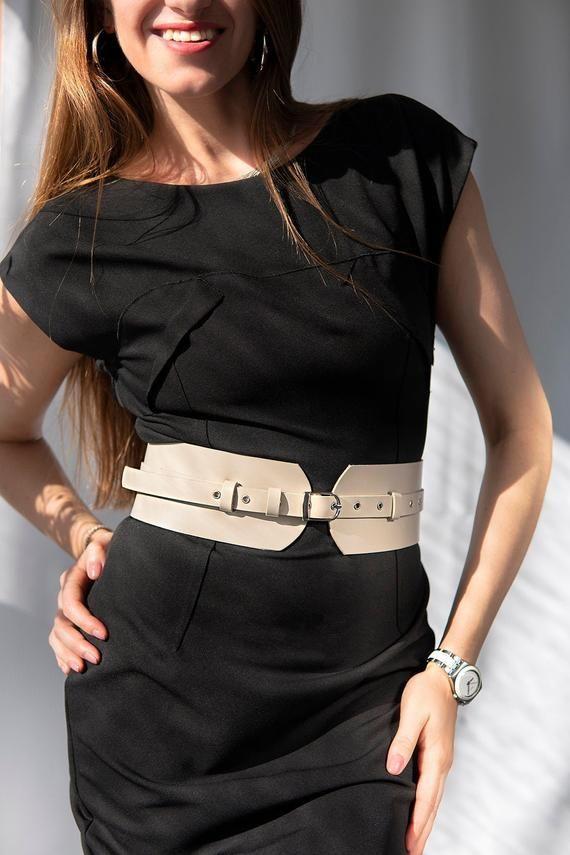 Black Leather Belt For Women Waist Wide Leather Belt Dress Belt