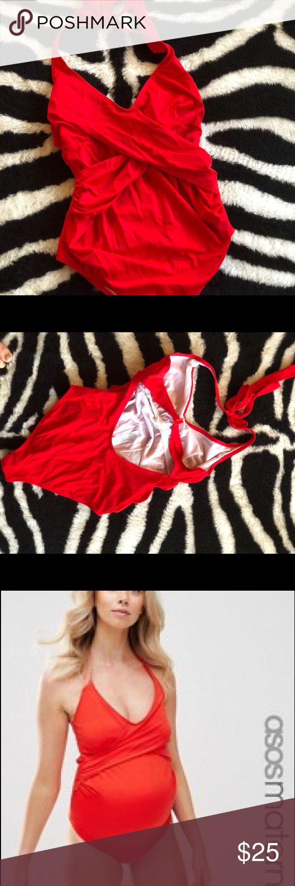 ASOS Red Maternity one piece Swimsuit, size 8/M EUC— super cute and bright yet chic solid ASOS maternity one piece swimsuit. Color is very bright red. Crossover top is very flattering.  Size US 8 (or UK 12)— I would say it fits a medium. ASOS website picture so you can see it on— I thought it looked better on in person than on the model (true story!) ASOS Maternity Swim One Pieces