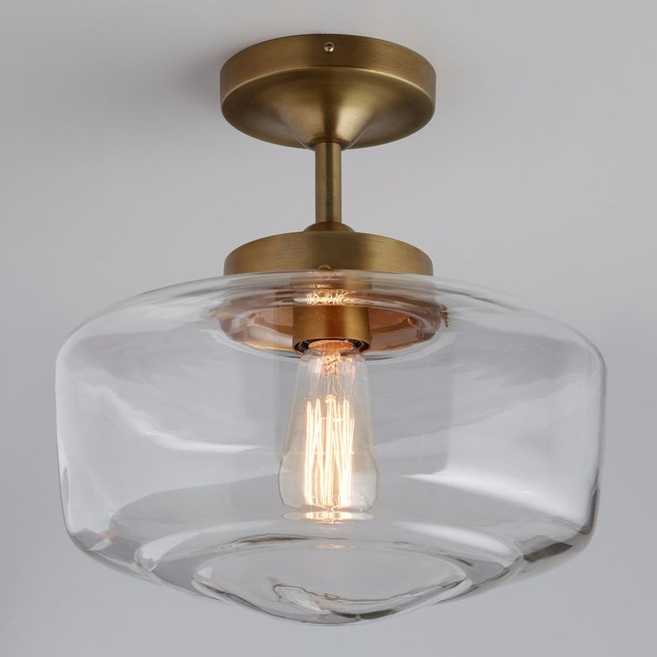 Brass And Glass Dome Semi Flush Mount Ceiling Light By