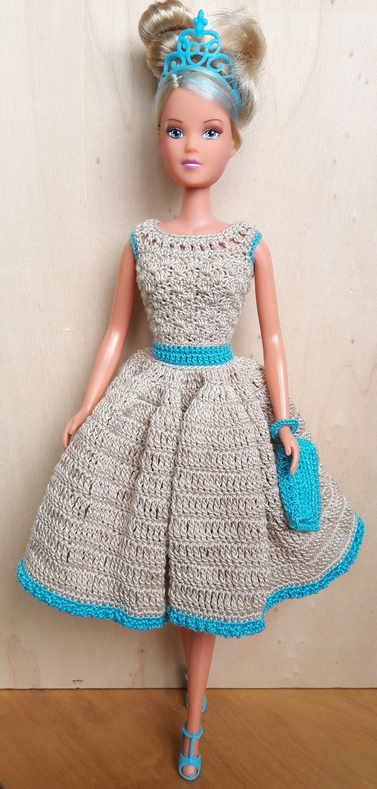 Puppenkleidung - Barbie/Steffi Kleid (gehäkelt), beige/türkis - ein Designerstück von Anna-Tim bei DaWanda