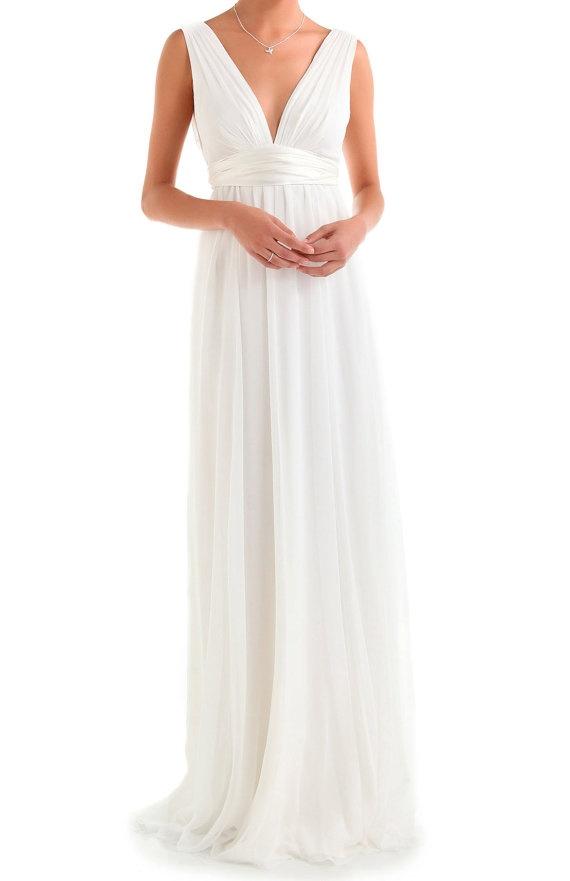 Sexy Evening Dress, A-line V-neck Long Chiffon Evening Dress, Red Long Prom Dress. $139.00, via Etsy.