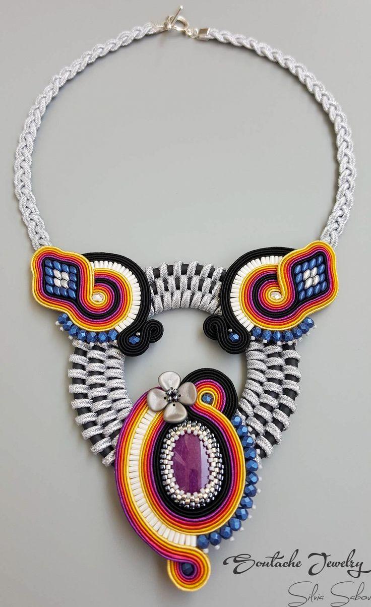 Tropical sunset Unique handmade colorful soutache necklace