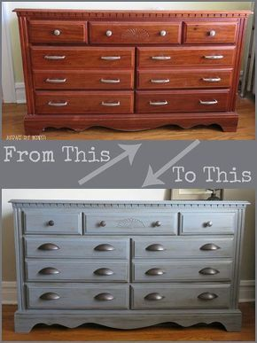 a manly paint makeover for my childhood dresser, chalk paint, diy, painted furniture.  She used gray chalk paint (two coats) then paste wax to seal it.  New hardware.  Lovely.
