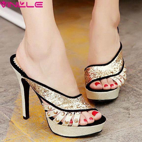 Vinlle 2015 новинка женская обувь на высоких каблуках сексуальные платформы высокий каблук сандалии черный красный лето слайды размер 34 40купить в магазине VINLLEнаAliExpress