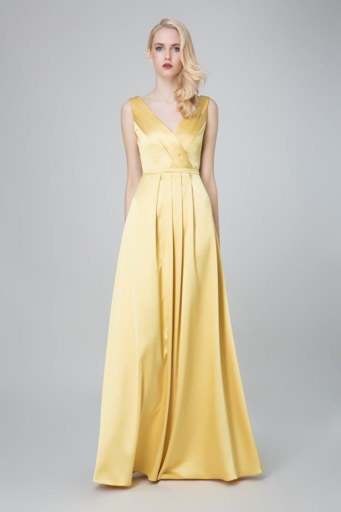 SADONI evening dress ZAHARA with V neckline in a light gold satin colour