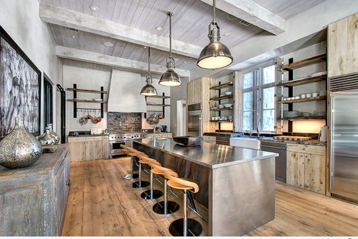 Try to think of a kitchen that is a mixture of various styles such as: modern, eclectic, rustic and cozy, then add  contemporary steel appliances, exposed brick walls, put some sharp steel material...