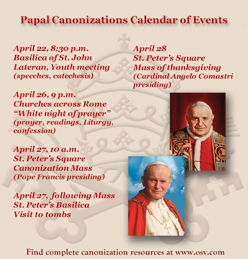 All about the canonization schedule