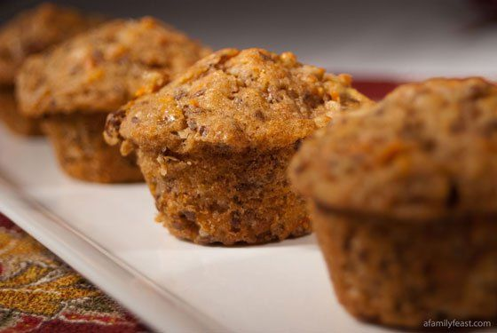 Easy morning glory muffins made from carrots, apple, coconut, nuts and cinnamon. YUM!