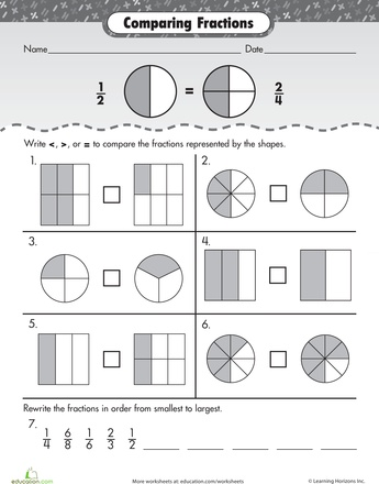 comparing fractions with unlike denominators worksheet pdf