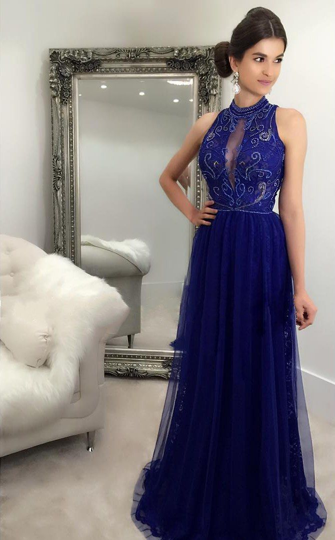 dfae7a552 Royal Blue Long Prom Dresses High Neck Lace Tulle Beading Party Dress