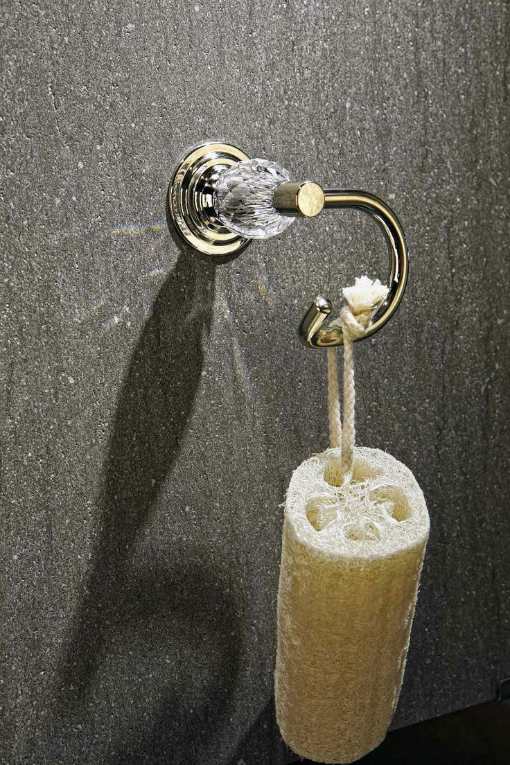Golden inspirations of bathroom - the magic of Swarovski crystal accented with 24 karat gold - resplendent with its beauty golden towel hook  www.sancodesign.co.uk