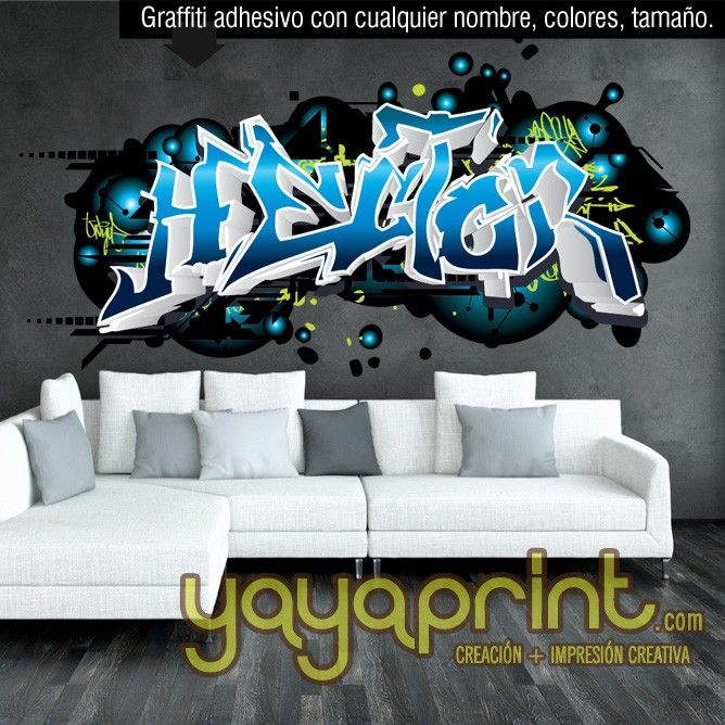 M s de 20 ideas incre bles sobre graffitis nombres en for Mural habitacion juvenil
