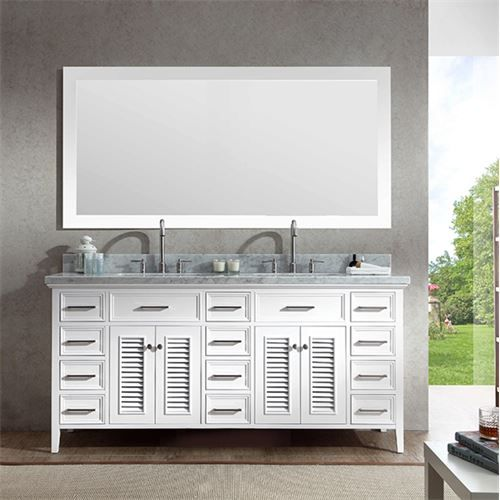 Add a   touch of elegance to your traditional bathroom with a beautiful Kensington   bathroom vanity from Ariel Bath. The Kensington series features solid wood   cabinets with matching framed mirrors...
