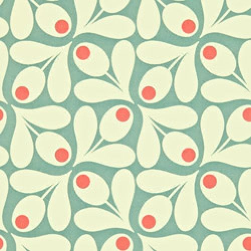Aan de wand-orla kiely behang acorn spot-acorn spot sea blue poppy-Orla Kiely-5375-Als je een origineel behang in retro sixties stijl zoekt voor de woonkamer, werkkamer, kinderkamer of welke kamer dan ook, dan heb je het hier gevonde