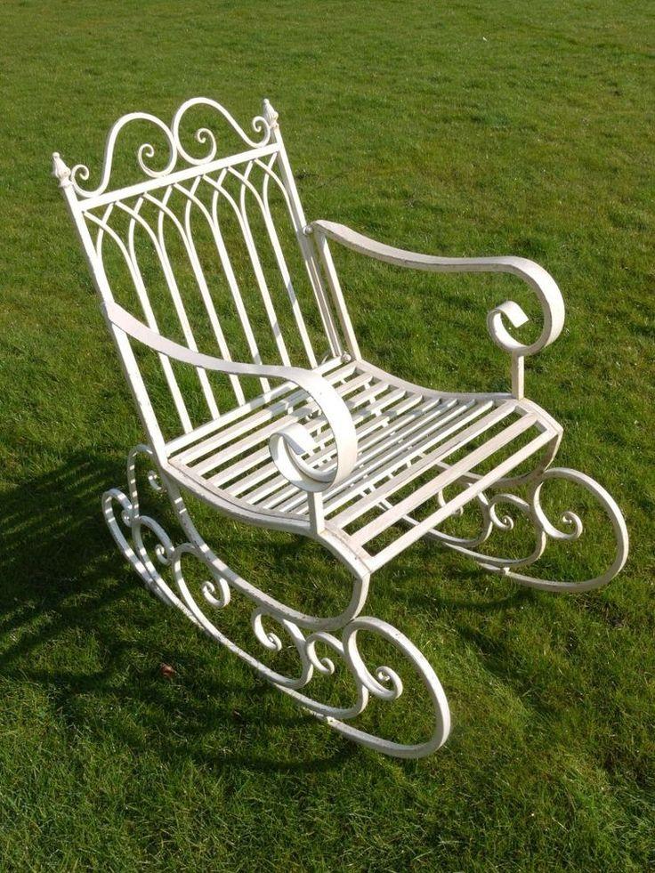 Metal Steel Garden Rocking Chair In Antique Aged White Indoor Outdoors Porch NEW