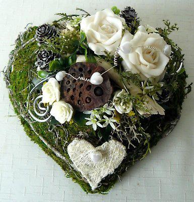 Grabgesteck Herz, creme Rose, Gesteck, Grabschmuck, Allerheiligen, Gedenktag