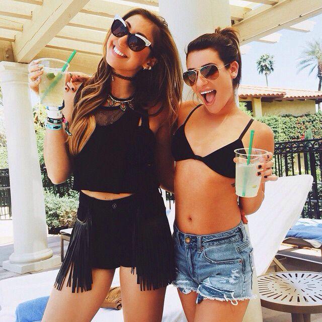 Lea Michele and Hannah Lux Davis at Coachella