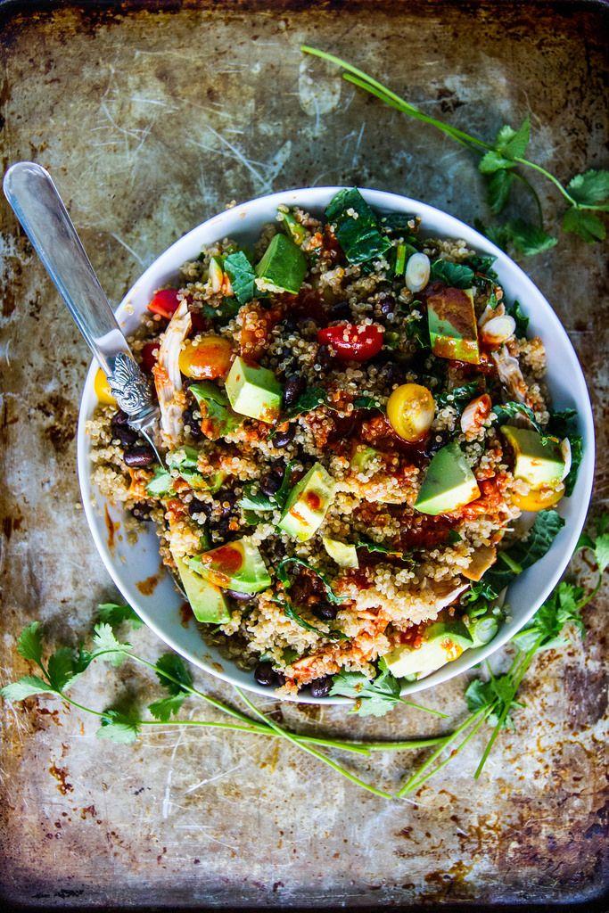 Southwestern Chicken Quinoa bowl with Harissa Vinaigrette from @heatherchristo