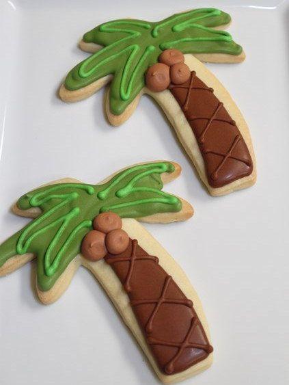 Palm Trees Decorated Sugar Cookies 1 Dozen (12) Beach Sea Ocean Tropical Luau